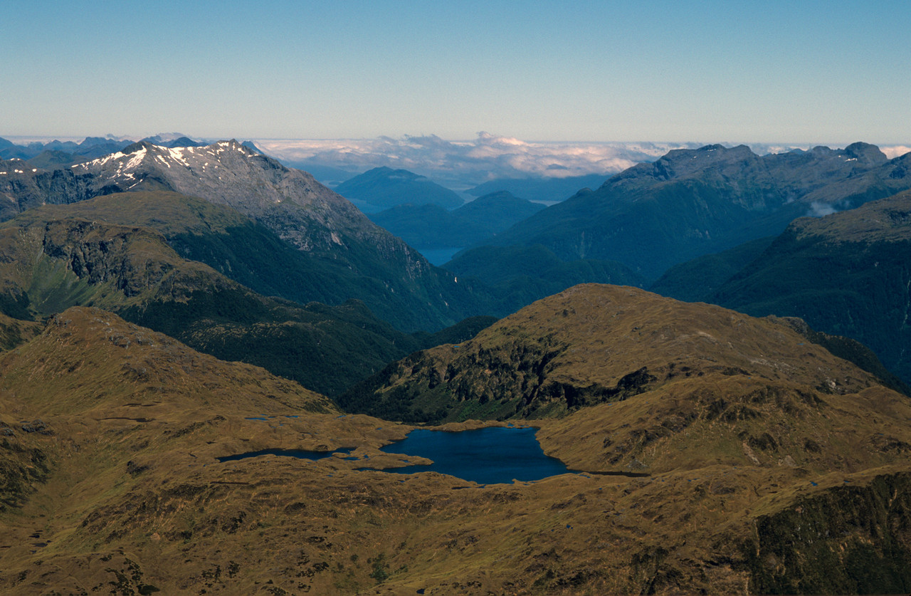 Lake Horizon and Dusky Sound from the summit of Tamatea Peak