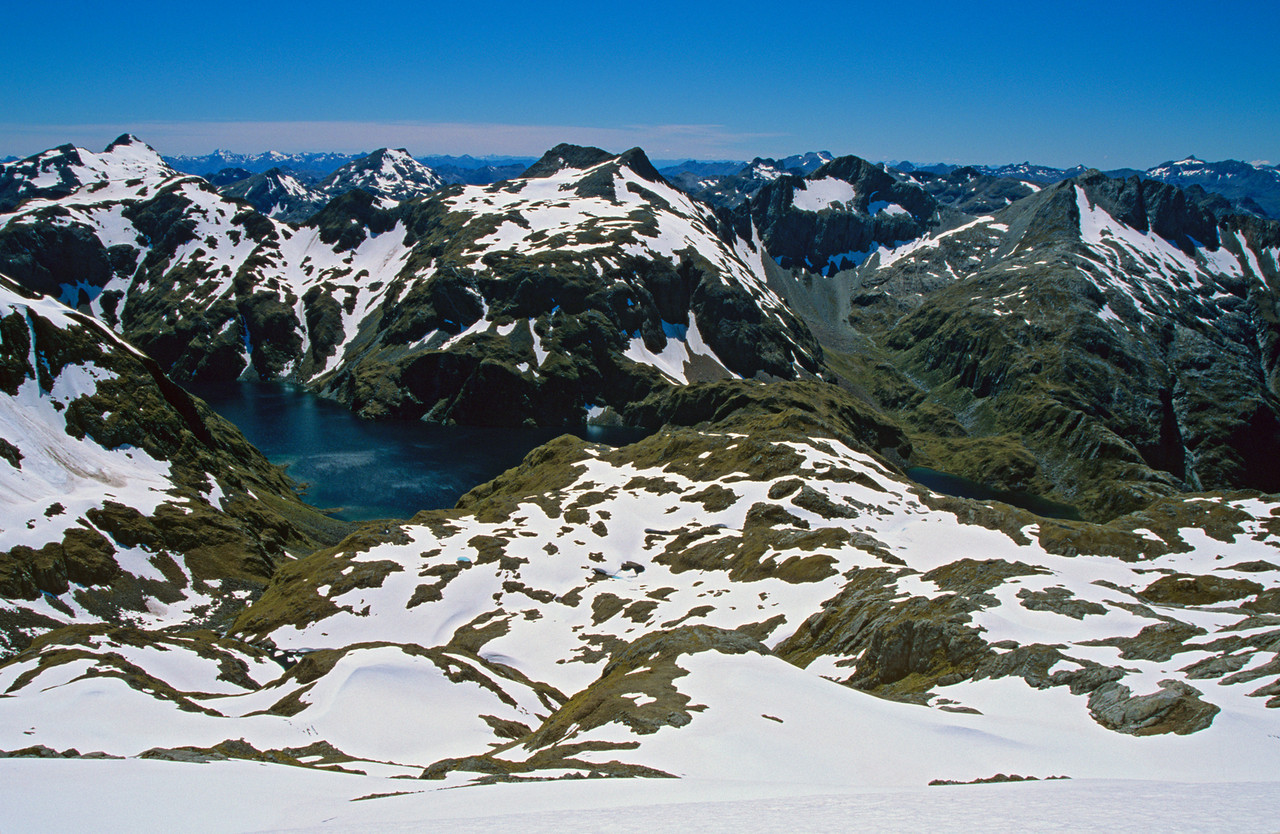 Looking north-east from Tamatea Peak, onto the fourth lake in the north-west branch of Florence Stream