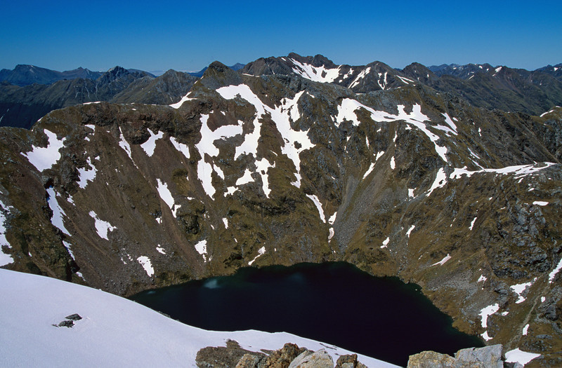 The lake below unnamed peak 1595m, south-east of Tamatea Peak