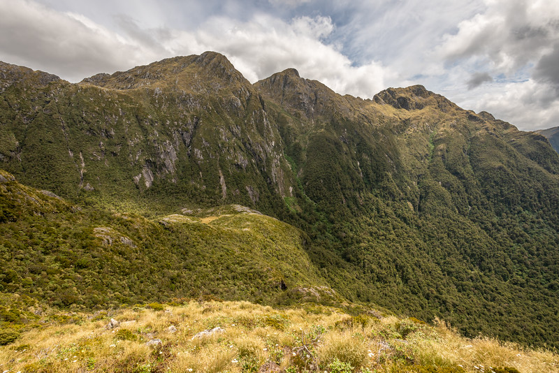 Mount Murrell and the Marguerite Peaks from Henry Pass. George Sound Route, Fiordland National Park.