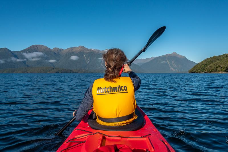 Kayaking Lake Te Anau's Middle Fiord.