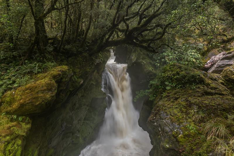 Wapiti River Falls near Lake Thomson Hut. George Sound Route, Fiordland National Park.
