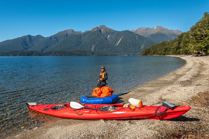 On Lake Te Anau's Middle Fiord. Dana Peaks top right.