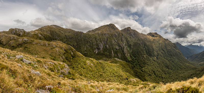 Mount Murrell and the Marguerite Peaks from Henry Pass; Katherine Creek below. George Sound Route, Fiordland National Park.