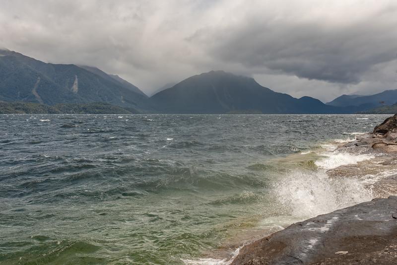 Waiting for the wind to drop on Lake Te Anau.