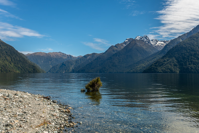 Looking across the South Fiord of Lake Te Anau to Mt Lyall, Murchison Mountains.