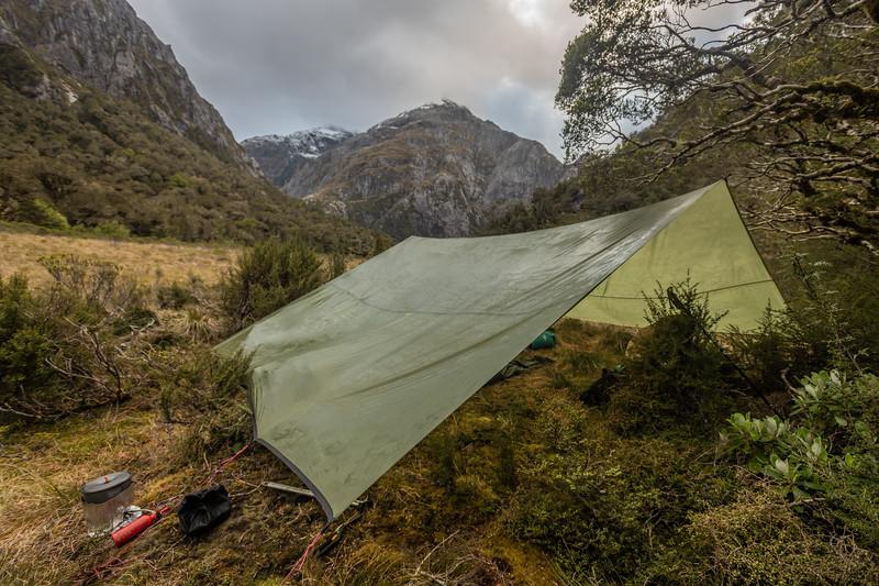 Campsite in the river flats at the head of Tuaraki Stream. Mount Scott above.