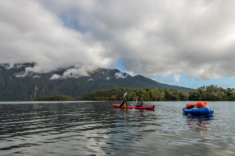 Paddling past Dome Islands, Lake Te Anau.
