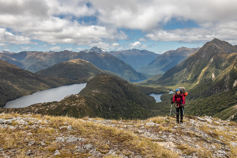 On the east ridge of Mount Baird. Lake Hall and Lake Cecil below. Mount Lyall is in the background at centre image; Mount Martin on the far right.