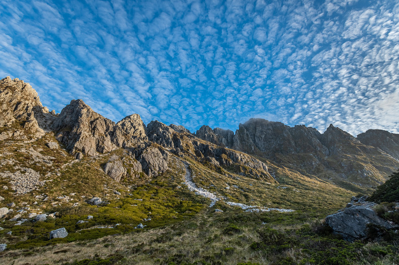Cloud formations over Mount Baird. MacPherson Pass, Kepler Mountains.