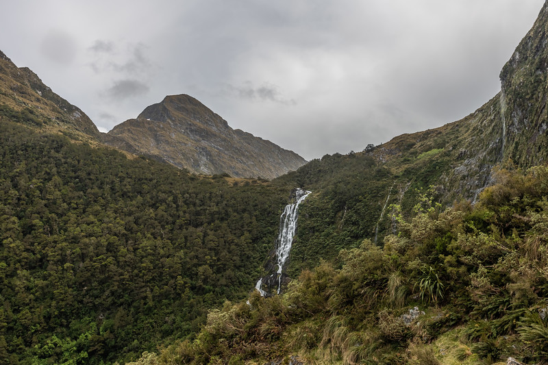 The waterfall draining the lake below Coronation Peak, at the head of the Cozette Burn West Branch. Mount Wera top left.