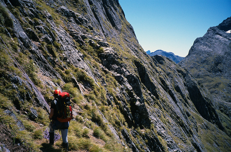 On the ledges below Grave-Talbot Pass, Esperance Valley. The route sidles horizontally across, as far as the eye can see. Not for the faint-hearted!