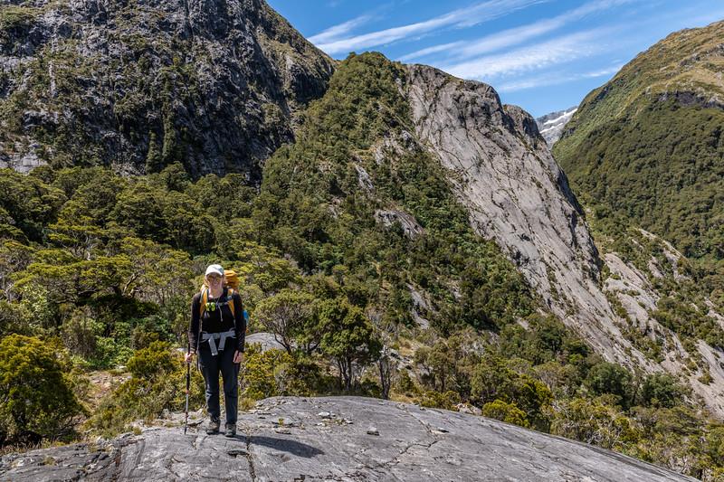 Route to Lake Pukutahi through the bluffs above Moulin Creek