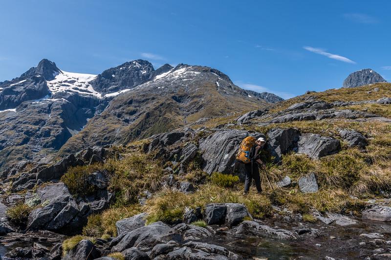 Crossing the outlet of Lake Pukutahi. Paranui Peak, Ngapunatoru Pass and Mount Grave behind.