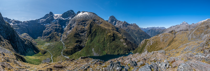 Panorama from Pt 1204m east of Lake Pukutahi, Harrison River.