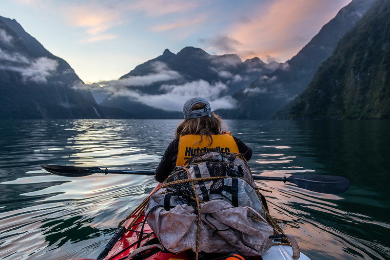 Early morning kayaking on Milford Sound.