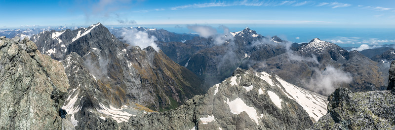 View from Paranui Peak: Mount Grave, Llawrenny Peaks, Mount Pembroke, Te Hau.