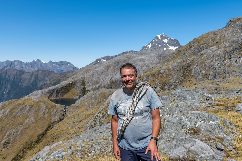 In front of Mount Pembroke and Lake Pukutahi.