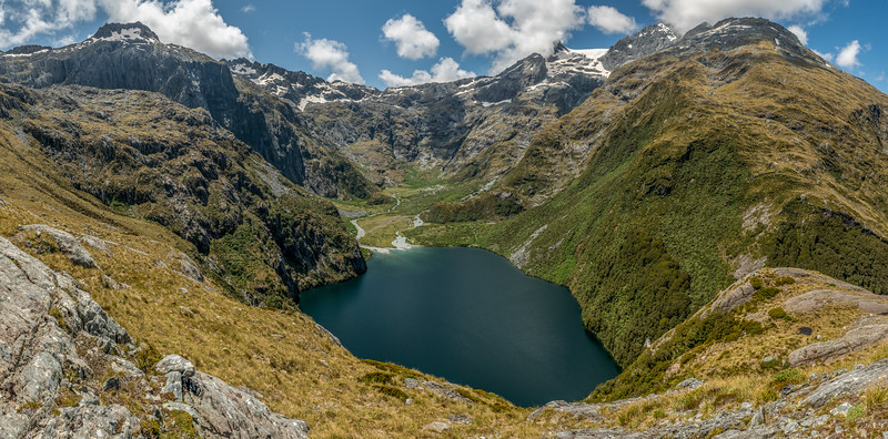 Lake Never-never. Ongaruanuku is top left, Paranui Peak top right.