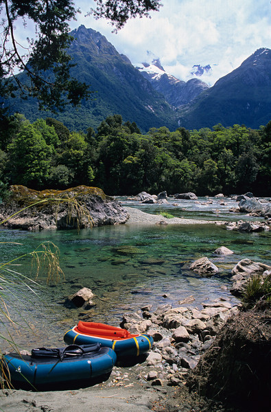 At the top of the Little Homer rapids, Hollyford River