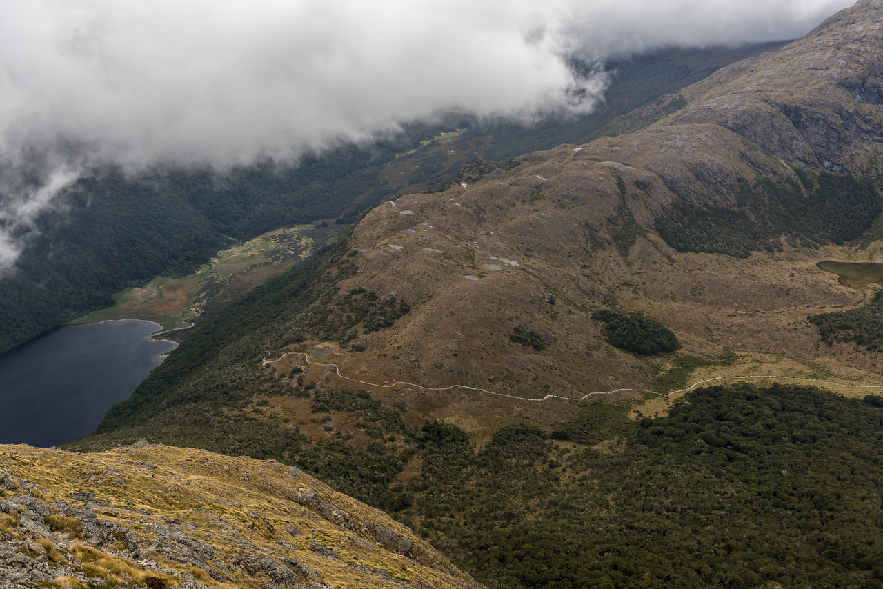 View of McKellar Saddle from the west ridge of Jean Batten Peak. Lake McKellar and the Greenstone River on left