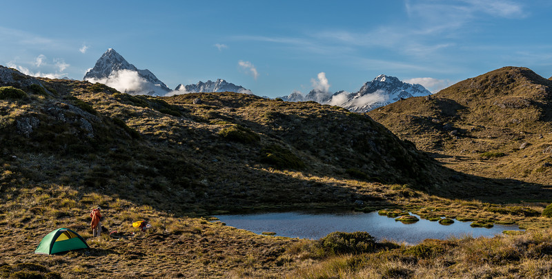 Campsite above McKellar Saddle. Mt Christina, Mt Crosscut and Mt Lyttle in the background