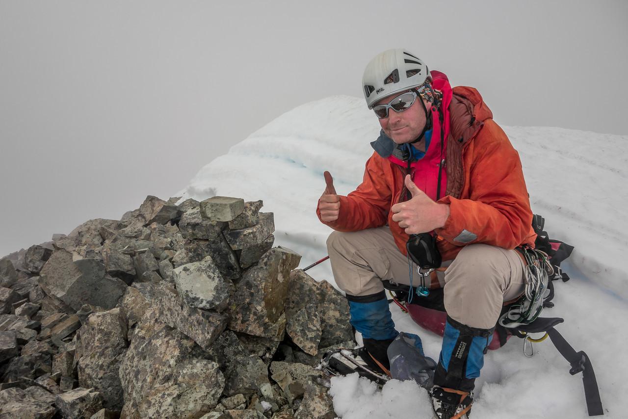 On the summit of Jean Batten Peak