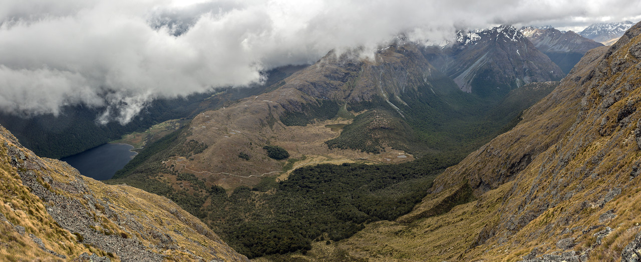 View of McKellar Saddle from the west ridge of Jean Batten Peak. Lake McKellar and the Greenstone River on left; the Caples River on right