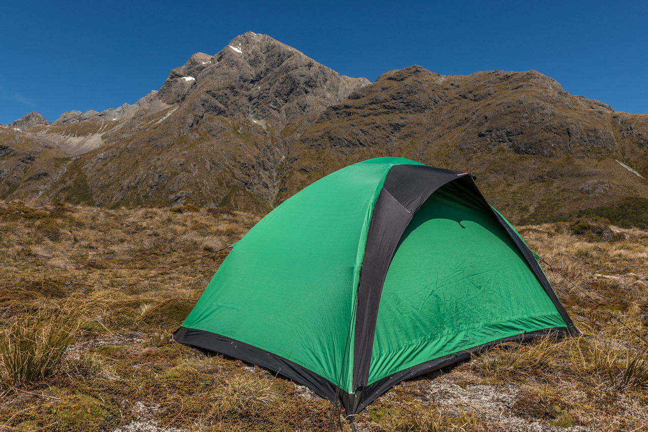 Campsite above McKellar Saddle. Jean Batten Peak in the background