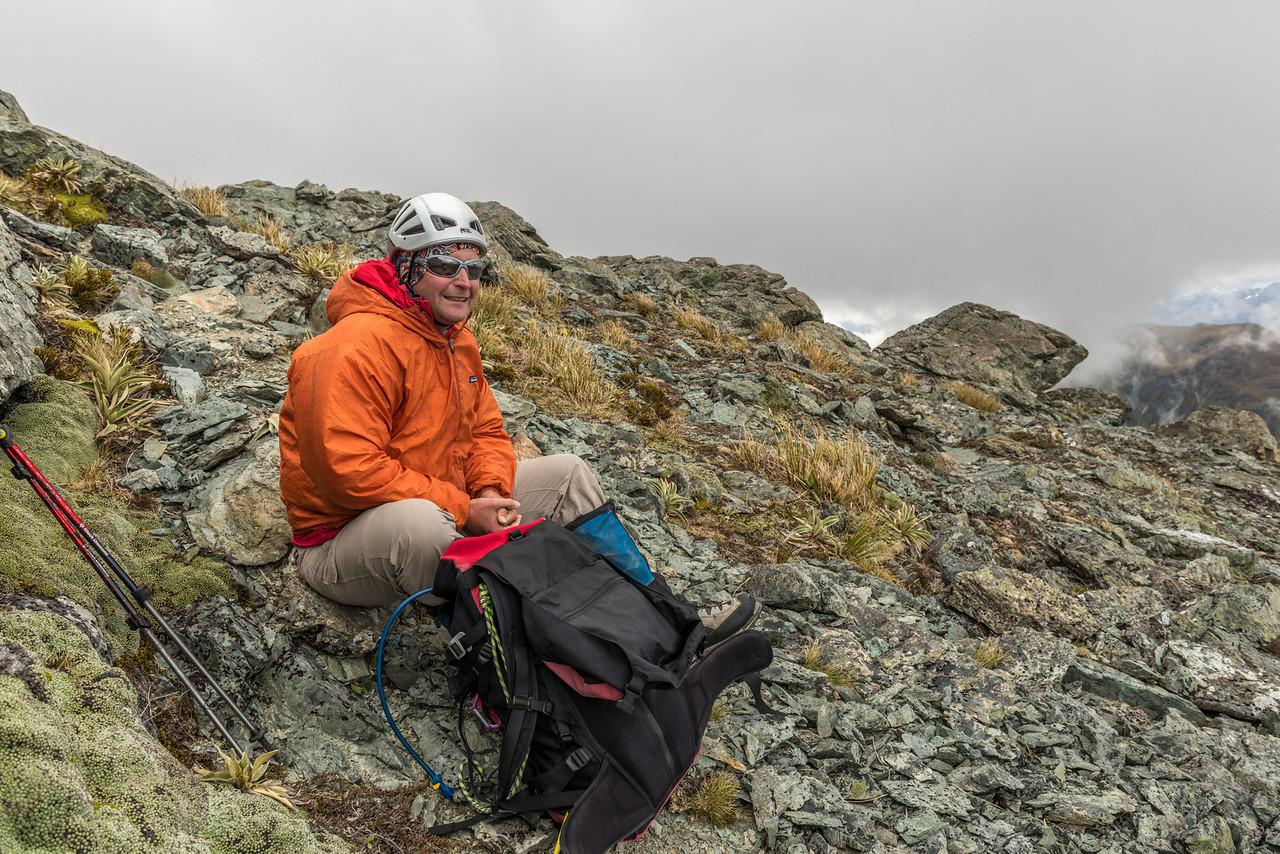 On the west ridge of Jean Batten Peak
