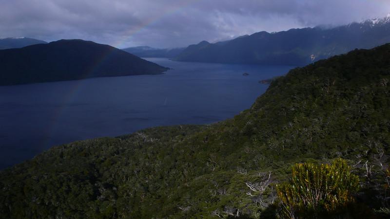 Lake Hauroko, Teal Bay and Princess Mts from Observation Rock