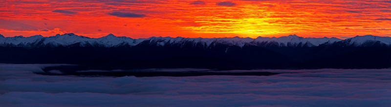 Sunrise over the Thomson Mountains, from Luxmore Hut