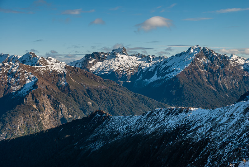 The Kepler Mountains from the saddle west of pt 1528m, Kepler Track. Mount Axford is at centre image, Spire Peak on the right.