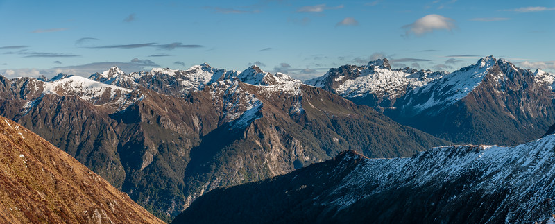 The Kepler Mountains from the saddle west of pt 1528m, Kepler Track. The Cathedral Peaks on the left; Mount Axford and Spire Peak on the right