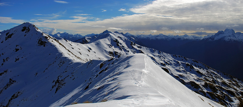 The western end of the Luxmore tops from the saddle under pt 1528m. Mt Lyall on the far right