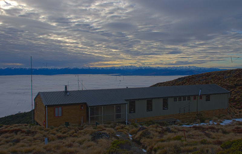 Luxmore Hut. The Thomson and Eyre Mountains behind. HDR Photograph