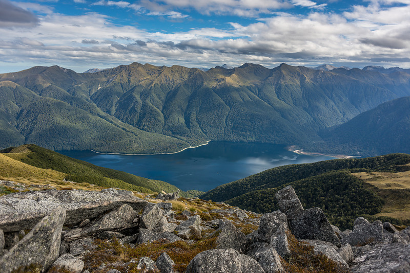View from pt 1315m, Monowai Tops: Lake Monowai and Kaherekoau Mountains
