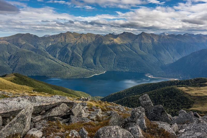 View from pt 1315m, Monowai Tops: Lake Monowai and Kaherekoau Mountains