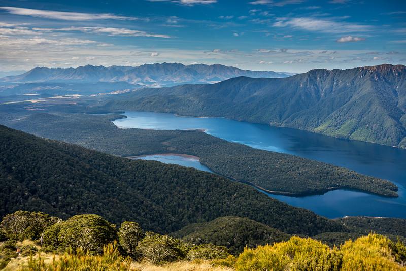View from the north-east ridge of pt 1315m (Monowai Tops): Lake Monowai and Takitimu Mountains