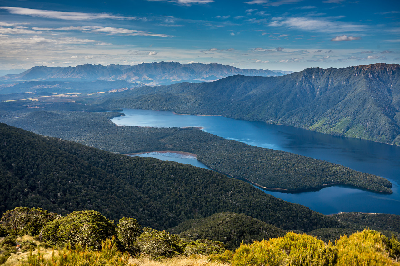 View from the north-east ridge of pt 1315m (Monowai Tops): Lake Monowai and Takitimu Mountains