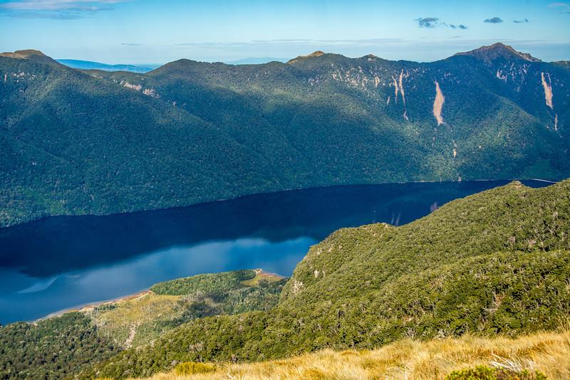 View from the north-east ridge of pt 1315m (Monowai Tops): Lake Monowai and Ardeer Peak