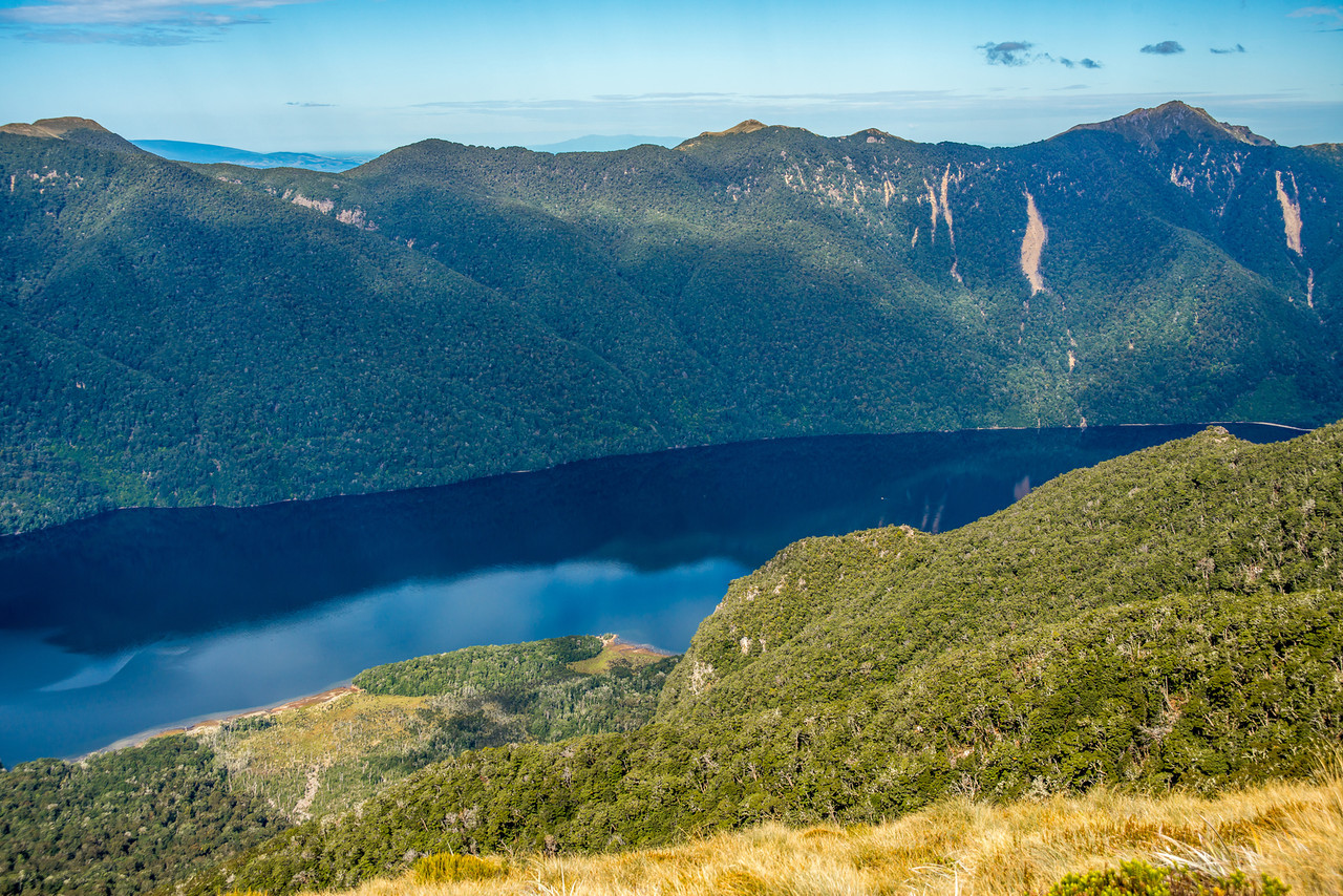 View from the north-east ridge of pt 1315m (Monowai Tops): Lake Monowai and Ardeer Peak