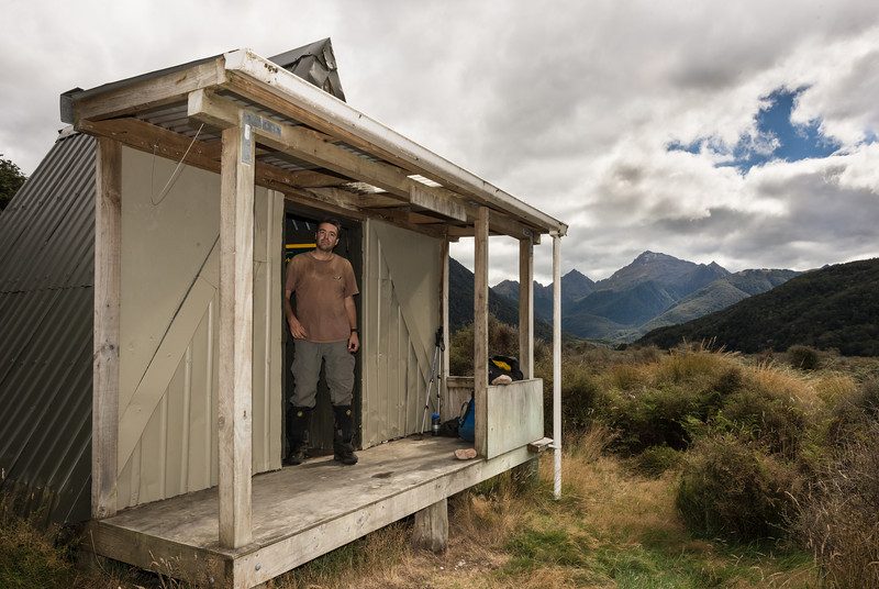 Clark Hut at the head of the Grebe River. Mount Puteketeke in the background