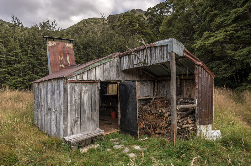 Historic Clark Hut at the head of the Grebe River