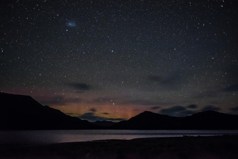 Aurora australis over Green Lake