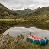 Fed up with swamps, we paddled across this tiny lake in the valley draining Rugged Mount to the east.