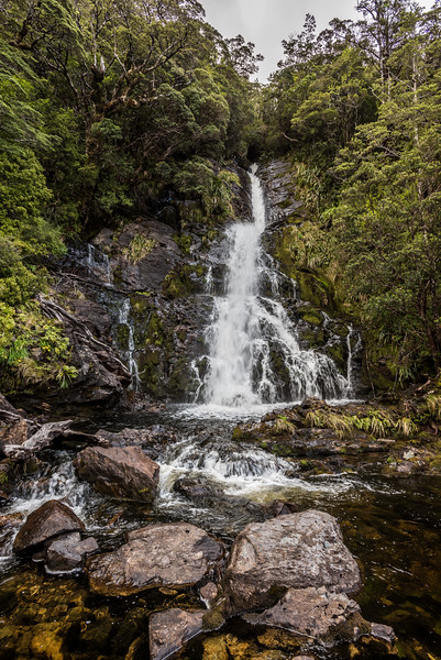 Waterfall in the creek draining the saddle Pt 764m, Cameron Mountains