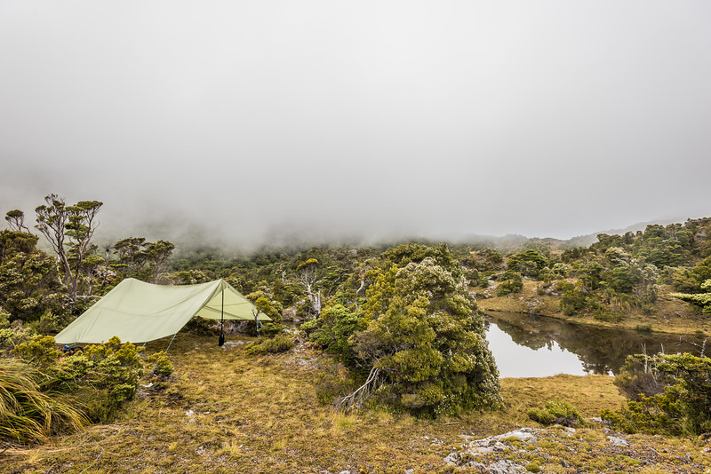Our campsite on the sub-alpine plateau separating Lake Monk from Lake Mouat