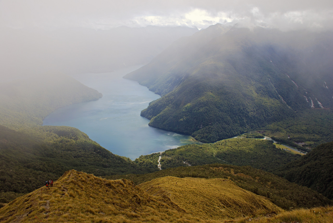 Descending from Dore Pass towards the Clinton River and Lake Te Anau.