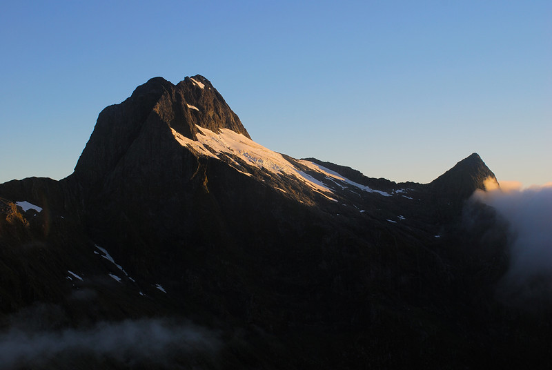 Mt Elliot and Mt Wilmur at sunrise, from the north-east ridge of Mt Hart